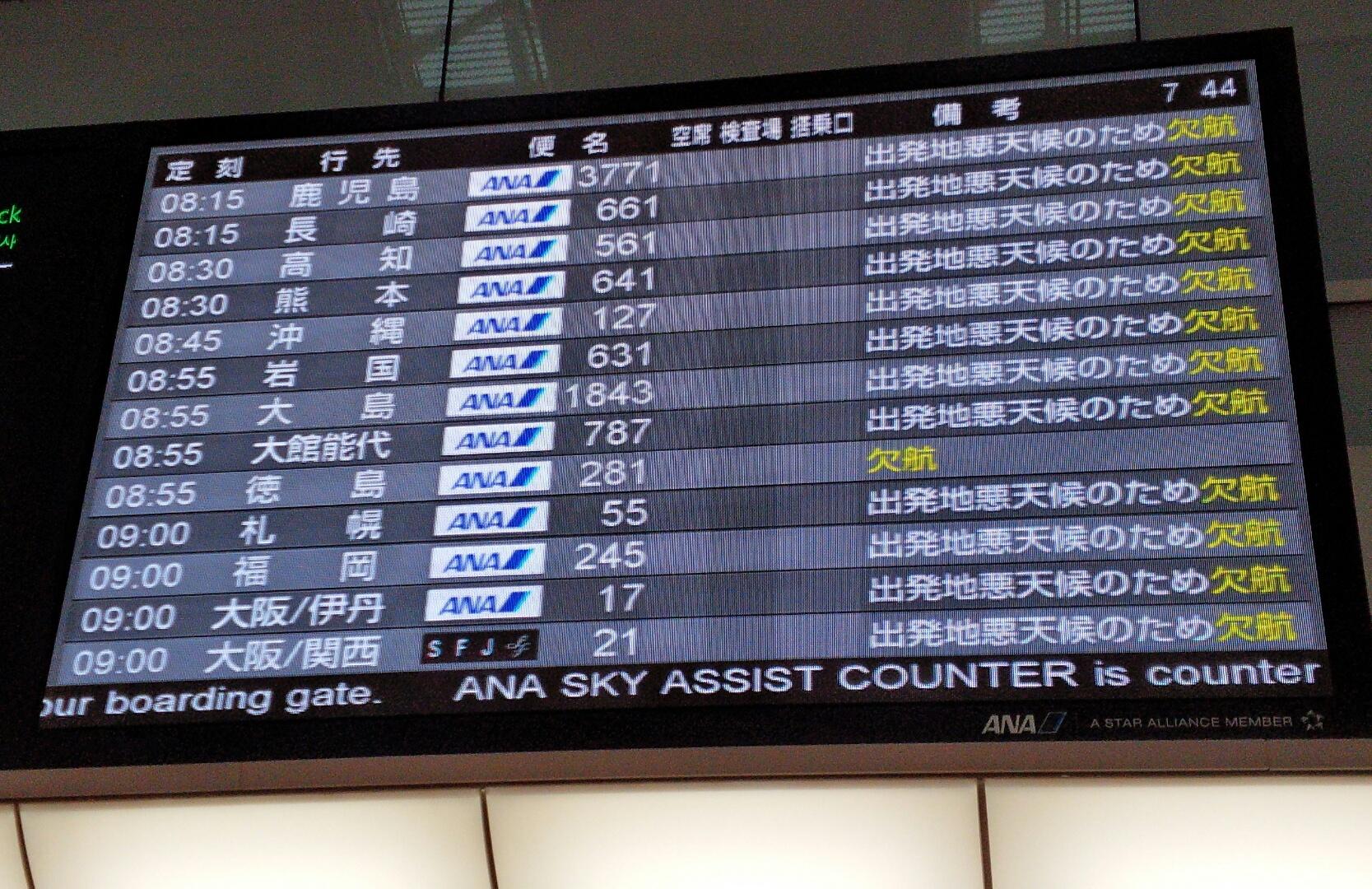 羽田空港発着便が欠航
